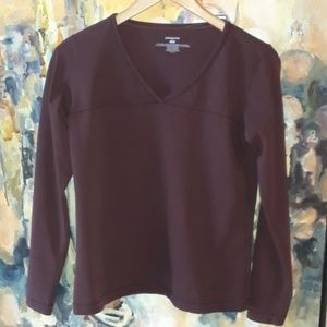Women's Patagonia Maroon v-neck training top